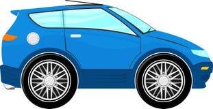 Funny blue car cartoon Stock Photos