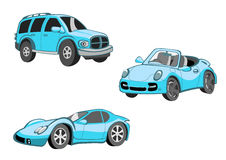 Funny   blue  cars Royalty Free Stock Images