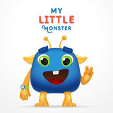 Funny Blue Cartoon alien invader. my little monster typography. Cute Fluffy character with watch isolated on light Royalty Free Stock Photography