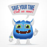 Funny Blue Cartoon alien monster. Save your time, call us now typography. Cute character with watch and glasses isolated Royalty Free Stock Photos