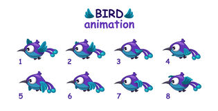 Funny blue cartoon bird flying sprites Royalty Free Stock Images