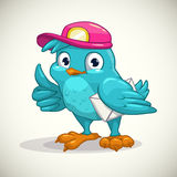 Funny blue cartoon bird with letter Stock Photos