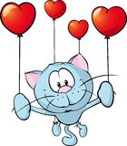 Funny blue cat flying with balloon - vector vector illustration