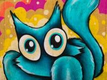 Funny Blue Cat Grafito on Public Wall, Street Art Graffiti Stock Photography