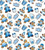 Funny blue Christmas cookies pattern Royalty Free Stock Photo