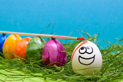 Funny blue easter background Stock Images