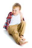 Funny blue-eyed three-year boy on a white background Stock Image