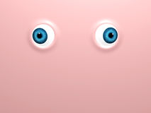 Funny blue eyes on pink background. Funny blue eyes on background of pink color. 3d render Stock Photo