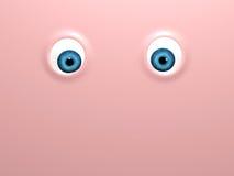 Funny blue eyes on pink background Royalty Free Stock Image