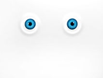 Funny blue eyes on white background. 3d render Stock Photos