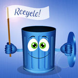 Funny blue garbage bin for Recycle Royalty Free Stock Images