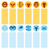 Funny blue and orange zodiac sign icon set astrological, vector Stock Image