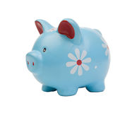 Funny blue piggy-bank Royalty Free Stock Image