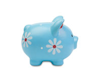 Funny blue piggy-bank Stock Photography