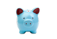 Funny blue piggy-bank Royalty Free Stock Photo