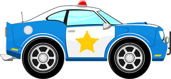 Funny blue police car cartoon Stock Images
