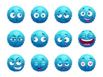 Funny blue round characters set. Royalty Free Stock Photography