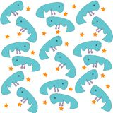 Funny blue whales group reaching for the stars royalty free illustration