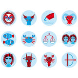 Funny blue zodiac sign icon set astrological, illustration  Royalty Free Stock Photography