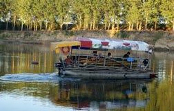 Funny boat on dnistro river moldavia Stock Image