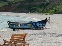Funny boat. Funny drawn boat In south Agigea Black Sea beach Royalty Free Stock Photography