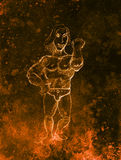 Funny Bodybuilder, pencil sketch on paper, sepia and vintage effect. Royalty Free Stock Photography
