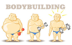 Funny bodybuilder. Vector illustration: Funny Man before and after weight loss program and training. Funny cartoon characters royalty free illustration