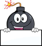 Funny Bomb Cartoon Character Holding A Banner Royalty Free Stock Image