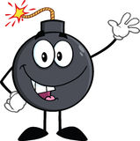Funny Bomb Cartoon Character Waving Royalty Free Stock Photo