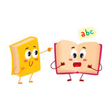 Funny book character running with bookmark ribbon visible Royalty Free Stock Images