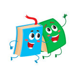 Funny book character running with bookmark ribbon visible Royalty Free Stock Image