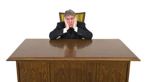 Funny Bored on Job Businessman Isolated Stock Photos