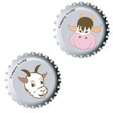 Funny bottle cap. Cow and goat on fanny bottle cap Royalty Free Stock Photos