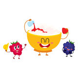Funny bowl of cottage cheese and raspberry, blackberry berry characters Stock Photo