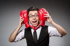 Funny boxer businessman Royalty Free Stock Photo