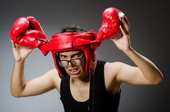 Funny boxer with red gloves against Royalty Free Stock Photography