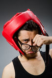 Funny boxer with red gloves against Royalty Free Stock Image
