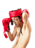 Funny boxer  on white Stock Photography
