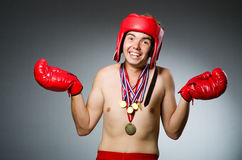 Funny boxer with winning Stock Photography