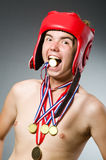 Funny boxer with winning Stock Image