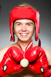 Funny boxer with winning Stock Photos