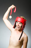 Funny boxer with winning Stock Images