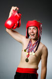 Funny boxer with winning Royalty Free Stock Photo