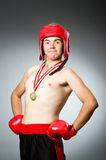 Funny boxer with winning Royalty Free Stock Photography