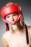 Funny boxer with winning Stock Photo
