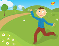 Funny boy. Vector illustration: boy with kite Royalty Free Stock Image