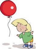 Funny boy with balloon stock photo