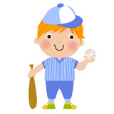 Funny Boy Baseball Player with Bat and Ball Stock Photography