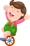 Funny boy with bicycle vector Stock Images