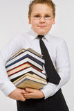 Funny boy with books Stock Image